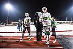 Stockholm 2014-03-05 Bandy SM-semifinal 3 Hammarby IF - V&auml;ster&aring;s SK :  <br /> V&auml;ster&aring;s Jesper Hermansson och V&auml;ster&aring;s Tobias Holmberg ser deppiga ut n&auml;r de g&aring;r av planen efter matchen <br /> (Foto: Kenta J&ouml;nsson) Nyckelord:  VSK Bajen HIF depp besviken besvikelse sorg ledsen deppig nedst&auml;md uppgiven sad disappointment disappointed dejected