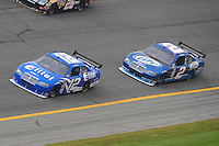 Feb 13, 2008; Daytona Beach, FL, USA; Nascar Sprint Cup Series driver Ryan Newman (12) leads teammate Kurt Busch (2) during practice for the Daytona 500 at Daytona International Speedway. Mandatory Credit: Mark J. Rebilas-US PRESSWIRE