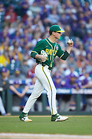 Baylor Bears starting pitcher Evan Godwin (27) reacts after a video review goes in favor of the Bears during the game against the LSU Tigers in game five of the 2020 Shriners Hospitals for Children College Classic at Minute Maid Park on February 29, 2020 in Houston, Texas. The Bears defeated the Tigers 6-4. (Brian Westerholt/Four Seam Images)