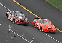 Apr 28, 2007; Talladega, AL, USA; Nascar Busch Series driver Dale Earnhardt Jr (8) leads Kevin Harvick (21) during the Aarons 312 at Talladega Superspeedway. Mandatory Credit: Mark J. Rebilas