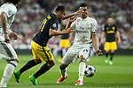 Angel Correa of Atletico de Madrid holds off pressure from  Carlos Henrique Casemiro of Real Madrid  during the match of Champions League between Real Madrid and Atletico de Madrid at Santiago Bernabeu Stadium  in Madrid, Spain. May 02, 2017. (ALTERPHOTOS/Rodrigo Jimenez)