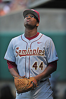 Florida State Seminoles pitcher/outfielder Jameis Winston #44 during a game against the Clemson Tigers at Doug Kingsmore Stadium on March 22, 2014 in Clemson, South Carolina. The Seminoles defeated the Tigers 4-3. (Tony Farlow/Four Seam Images)
