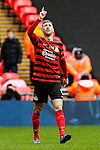 LONDON, ENGLAND - MARCH 29: Louis Moult of Wrexham celebrates after he scores the opening goal against North Ferriby United during the FA Carlsberg Trophy Final 2015 at Wembley Stadium on March 29, 2054 in London, England. (Photo by Dacid Horn/EAP)