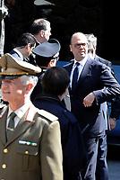 Roma, 3 Maggio 2017<br /> Il Ministro Angelino Alfano in attesa del Presidente della Germania per rendere omaggio alle vittime del massacro nazista alle Fosse Ardeatine