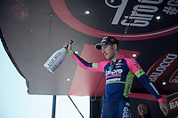 stage 17 winner Sacha Modolo (ITA/Lampre-Merida) on the podium <br /> <br /> stage 17: Tirano - Lugano (SUI) (134km)<br /> 2015 Giro d'Italia
