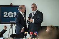 Praesentation der CDU-Kampagne fuer die Abgeordnetenhauswahl am 18. September 2016 in Berlin.<br /> Der CDU-Landesvorsitzende Frank Henkel stellte am Mittwoch den 6. April 2016 zusammen mit dem<br /> Wahlkampfleiter Kai Wegner und dem<br /> Kampagnenmanager Thomas Heilmann die Kampagne der Berliner CDU zur Abgeordnetenhauswahl vor. Konkrete Plakate mit Fotomotiven konnten nur eingeschraenkt gezeigt werden, da die CDU die Nutzungsrechte nicht erworben hat. So wurden den Journalisten nur Plakatideen und das Logo der Kampagne praesentiert.<br /> Im Bild vlnr: Kai Wegner und Frank Henkel.<br /> 6.4.2016, Berlin<br /> Copyright: Christian-Ditsch.de<br /> [Inhaltsveraendernde Manipulation des Fotos nur nach ausdruecklicher Genehmigung des Fotografen. Vereinbarungen ueber Abtretung von Persoenlichkeitsrechten/Model Release der abgebildeten Person/Personen liegen nicht vor. NO MODEL RELEASE! Nur fuer Redaktionelle Zwecke. Don't publish without copyright Christian-Ditsch.de, Veroeffentlichung nur mit Fotografennennung, sowie gegen Honorar, MwSt. und Beleg. Konto: I N G - D i B a, IBAN DE58500105175400192269, BIC INGDDEFFXXX, Kontakt: post@christian-ditsch.de<br /> Bei der Bearbeitung der Dateiinformationen darf die Urheberkennzeichnung in den EXIF- und  IPTC-Daten nicht entfernt werden, diese sind in digitalen Medien nach §95c UrhG rechtlich geschuetzt. Der Urhebervermerk wird gemaess §13 UrhG verlangt.]