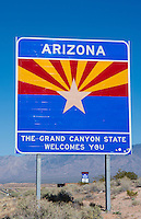 Welcome to Arizona sign from California to Arizona driving