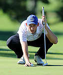 SIOUX FALLS, SD - SEPTEMBER 22:  South Dakota State University's Grant Smith lines up his birdie putt on the par 5 7th hole Monday at the Jackrabbit Invitational at Minnehaha Country Club. (Photo/Dave Eggen/Inertia)