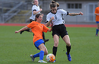 Action from the 2018 Women's Capital Premier football match between Wellington United Sapphires and Brooklyn Northern United at Newtown Park in Wellington, New Zealand on Sunday, 15 July 2018. Photo: Dave Lintott / lintottphoto.co.nz