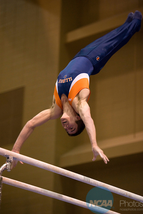 16 APR 2010:  C.J. Padera of the University of Illinois competes on the parallel bars during the Division I Men's Gymnastics Championship held at the Holleder Center on the U.S. Military Academy campus in West Point, NY. Padera scored a 15.150 on the parallel bars.  Jon Malinowski/NCAA Photos