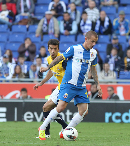 7.04.2012 Cornella, Spain. La liga. Picture shows Weiss in action during match beetwen RCD Espanyol against Real Sociedad at Cornella Stadium