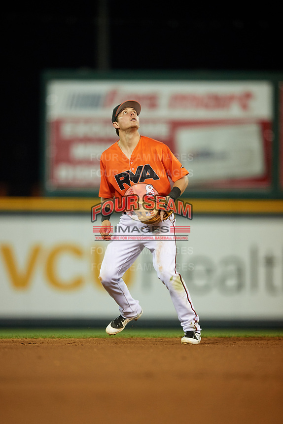 Richmond Flying Squirrels shortstop Ryan Howard (8) settles under a pop up during a game against the Trenton Thunder on May 11, 2018 at The Diamond in Richmond, Virginia.  Richmond defeated Trenton 6-1.  (Mike Janes/Four Seam Images)