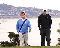 23 JAN 13  Sean Foley and Tiger Woods during The Farmers Insurance Open at Torrey Pines Golf Course in La Jolla, California. (photo:  kenneth e.dennis / kendennisphoto.com)