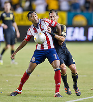 CARSON, CA - July 21, 2012: Chivas USA defender James Riley (7) during the LA Galaxy vs Chivas USA match at the Home Depot Center in Carson, California. Final score LA Galaxy 3, Chivas USA 1.