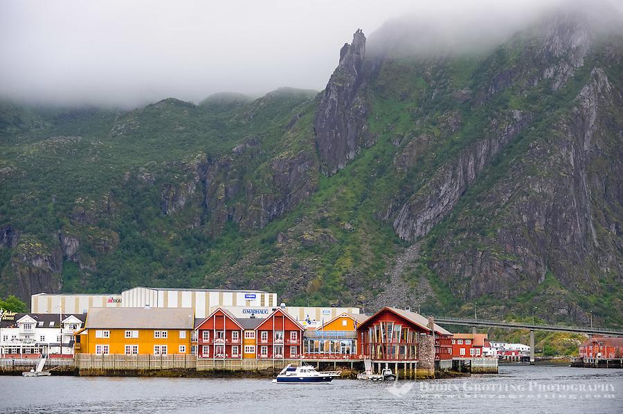 Norway, Lofoten. Svolvær is the administrative centre of Vågan Municipality, the Svolværgeita mountan is seen in the fog.