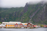 Norway, Lofoten. Svolvær is the administrative centre of Vågan Municipality, the Svolværgeita mountan is seen in the fog.