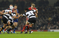 Wales Aaron Wainwright is tackled by Barbarians Campese Maafu<br /> <br /> Photographer Ian Cook/CameraSport<br /> <br /> 2019 Autumn Internationals - Wales v Barbarians - Saturday 30th November 2019 - Principality Stadium - Cardifff<br /> <br /> World Copyright © 2019 CameraSport. All rights reserved. 43 Linden Ave. Countesthorpe. Leicester. England. LE8 5PG - Tel: +44 (0) 116 277 4147 - admin@camerasport.com - www.camerasport.com