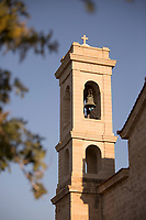 Tower of church captured from low angle, Paphos, Cyprus