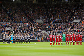 1st October 2017, St James Park, Newcastle upon Tyne, England; EPL Premier League football, Newcastle United versus Liverpool; Players from Newcastle United and Liverpool give a round of applause in honour of Sir Freddie Shepherd who died recently