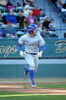 Andrew Calica (21) of the UC Santa Barbara Gauchos runs to first base during a game against the Cal State Long Beach Dirtbags at Blair Field on April 1, 2016 in Long Beach, California. UC Santa Barbara defeated Cal State Long Beach, 4-3. (Larry Goren/Four Seam Images)