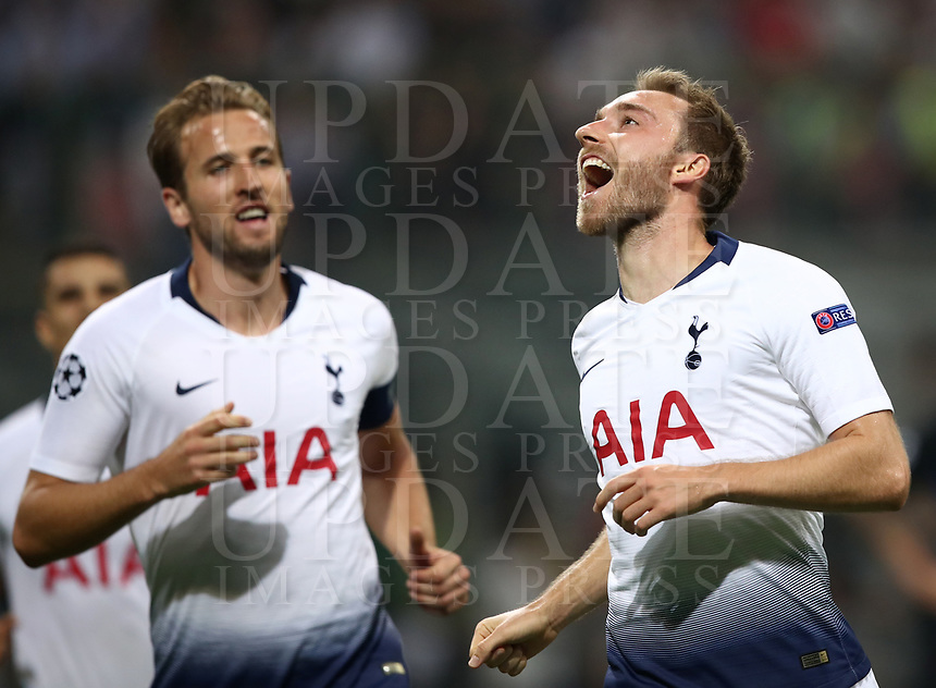 Football Soccer: UEFA Champions League FC Internazionale Milano vs Tottenham Hotspur FC, Giuseppe Meazza stadium, September 15, 2018.<br /> Tottenham's Christian Eriksen (r) celebrates after scoring with his captain Harry Kane (l) during the Uefa Champions League football match between Internazionale Milano and Tottenham Hotspur at Giuseppe Meazza (San Siro) stadium, September 18, 2018.<br /> UPDATE IMAGES PRESS/Isabella Bonotto