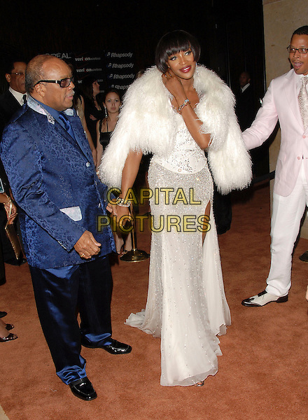 QUINCY JONES, NAOMI CAMPBELL & TERENCE HOWARD.attends The Clive Davis Pre-Grammy Party .held at The Beverly Hilton Hotel in Beverly Hills, California, USA,  February 10 2007..full length white dress fluffy fur wrap jacket shawl beaded holding hands.CAP/DVS.©Debbie VanStory/Capital Pictures