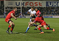 7th February 2020; AJ Bell Stadium, Salford, Lancashire, England; Premiership Cup Rugby, Sale Sharks versus Saracens;  Simon Hammersley of Sale Sharks runs into the tackle