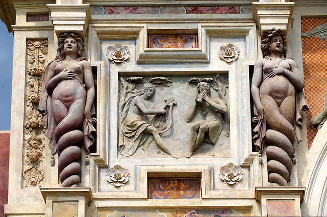 The Organ fountain1566. Sirens either side of a  bas relief of a music contest between Apollo and Marcia, 1566. The organ pipies driven by air from the fountains. Villa d'Este, Tivoli, Italy - Unesco World Heritage Site.