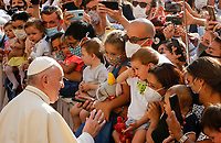 Pope Francis greets children as he arrives to attend his weekly general audience in St. Damaso courtyard at the Vatican, September 16, 2020.<br /> UPDATE IMAGES PRESS/Riccardo De Luca<br /> <br /> STRICTLY ONLY FOR EDITORIAL USE