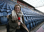 Broadcaster Kelly Cates ready to broadcast from tonights match - FA Cup Fifth Round - Preston North End  vs Manchester Utd  - Deepdale Stadium - Preston - England - 16th February 2015 - Picture Simon Bellis/Sportimage