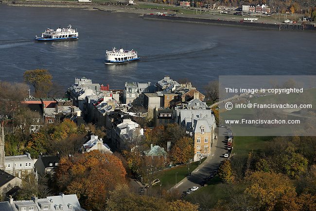 Aerial view of the Ferries joining Quebec City and Levis in Canada
