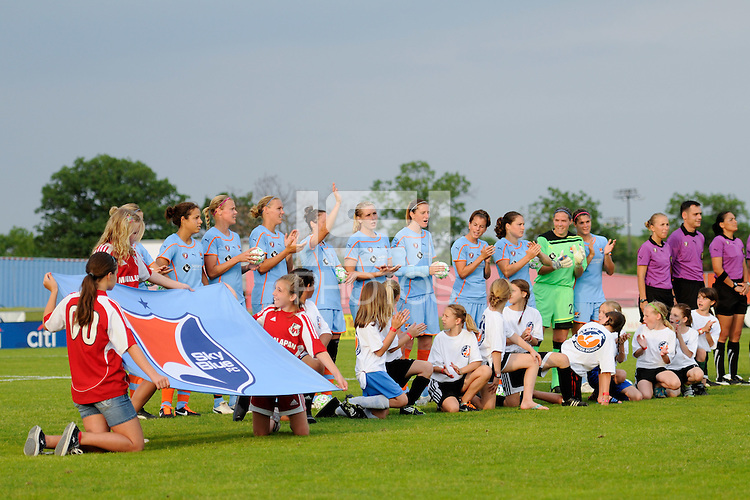 Sky Blue FC players are introduced prior to the start of the game. Sky Blue FC defeated the Atlanta Beat 1-0 during a Women's Professional Soccer (WPS) match at Yurcak Field in Piscataway, NJ, on June 22, 2011.