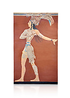Minoan 'Prince of the Lilies' wall art freco, Knossos Palace, 1600-1450 BCHeraklion Archaeological Museum.  White Background. <br /> <br /> An emblematic image of Minoan Crete this fresco was part of a larger composition in high relief. The fresco depicts a life size figure wearing a coloured kilt with a cod piece and a belt. A majestic crown on his head is adorned with papyrus lilies and peacock feathers. Neopalatial Period.
