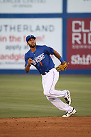 Amed Rosario (1) of the Las Vegas 51s runs towards a fly ball during a game against the Sacramento River Cats at Cashman Field on June 15, 2017 in Las Vegas, Nevada. Las Vegas defeated Sacramento, 12-4. (Larry Goren/Four Seam Images)