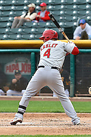 Ed Easley (4) of the Memphis Redbirds at bat against the Salt Lake Bees at Smith's Ballpark on June 18, 2014 in Salt Lake City, Utah.  (Stephen Smith/Four Seam Images)