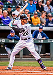 16 September 2017: Colorado Rockies third baseman Nolan Arenado in action against the San Diego Padres at Coors Field in Denver, Colorado. The Rockies shut out the Padres in a 16-0 route of the second game in their 3-game divisional series. Mandatory Credit: Ed Wolfstein Photo *** RAW (NEF) Image File Available ***