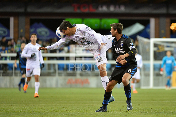 San Jose, CA - Saturday March 24, 2018: Miguel Herrera, Chris Wondolowski during an international friendly between the San Jose Earthquakes and Club Leon FC at Avaya Stadium.