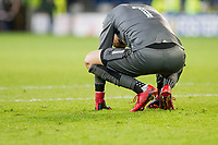 Angus Gunn of Norwich City looks dejected at full time of the Sky Bet Championship match between Cardiff City and Norwich City at the Cardiff City Stadium, Cardiff, Wales on 1 December 2017. Photo by Mark  Hawkins / PRiME Media Images.