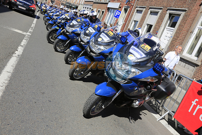 Heavy security prescence at sign on in Verviers before the start of Stage 3 of the 104th edition of the Tour de France 2017, running 212.5km from Verviers, Belgium to Longwy, France. 3rd July 2017.<br /> Picture: Eoin Clarke | Cyclefile<br /> <br /> <br /> All photos usage must carry mandatory copyright credit (&copy; Cyclefile | Eoin Clarke)