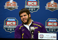 LSU offensive guard Will Blackwell smiles while talking with the reporters during BCS Championship LSU Offensive Press Conference at Marriott Hotel at the Convention Center in New Orleans, Louisiana on January 7th, 2012.