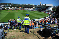 Police patrol the embankment during the One Day International cricket match between the NZ Black Caps and Pakistan at the Basin Reserve in Wellington, New Zealand on Saturday, 6 January 2018. Photo: Dave Lintott / lintottphoto.co.nz