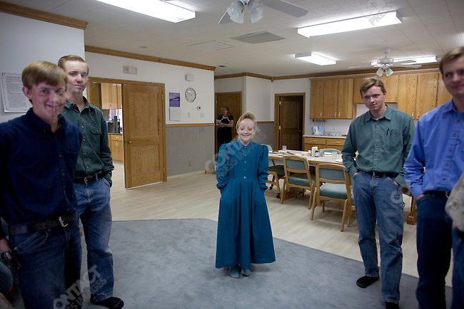 Fundamentalist Mormon group F.L.D.S., Children of the Dockstadder family at home on the church compound, Eldorado, Texas, USA, February 11, 2009