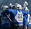 Josh Byrne #22 and Hofstra University teammates celebrate after a goal in a scrimmage against Hobart College at Hofstra University on Saturday, Feb. 4, 2017.