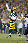 Green Bay Packers quarterback Aaron Rodgers (12) throws a jump pass during a week 16 NFL football game against the Chicago Bears on December 25, 2011 in Green Bay, Wisconsin. The Packers won 35-21. (AP Photo/David Stluka)