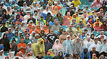 MIAMI GARDENS, FL - NOVEMBER 22:  Fans look on from the stands in the rain during their NFL game against the Miami Dolphins on November 22, 2015 at Sun Life Stadium in Miami Gardens, Florida. (Photo by Donald Miralle)