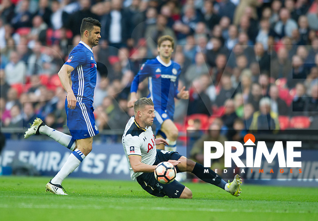 Tottenham's Toby Alderweireld during the FA Cup Semi Final match between Chelsea and Tottenham Hotspur at Wembley Stadium, London, England on 22 April 2017. Photo by Andrew Aleksiejczuk / PRiME Media Images.
