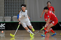 Korea's Namhyung Kim in action during the World Floorball Championships 2017 Qualification for Asia Oceania Region - Korea v China at ASB Sports Centre , Wellington, New Zealand on Saturday 4 February 2017.<br /> Photo by Masanori Udagawa<br /> www.photowellington.photoshelter.com.