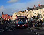 Bus stop in market place in the town of Devizes, Wiltshire, England