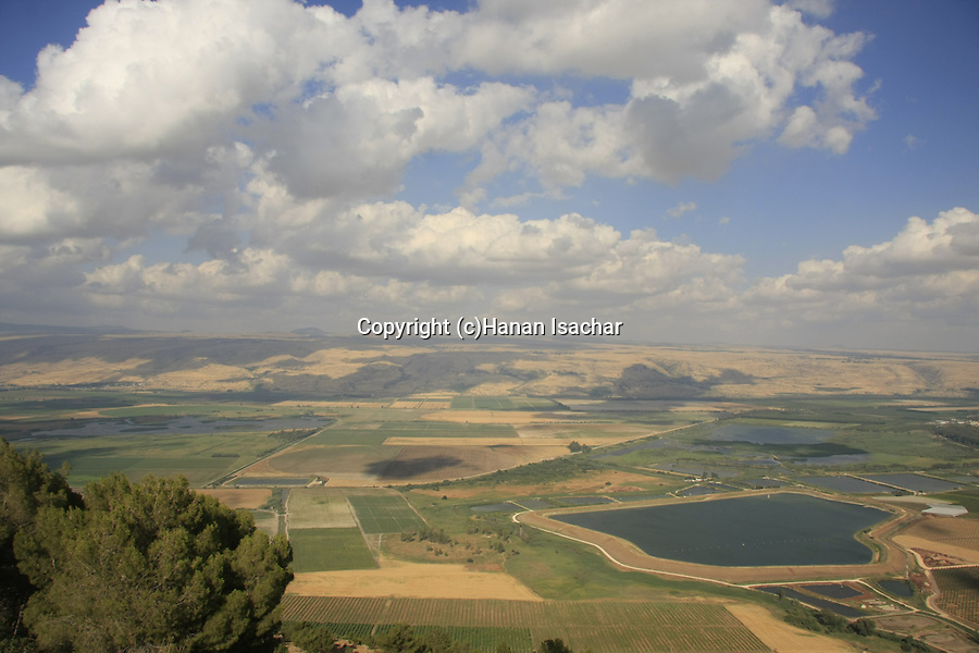Israel, Upper Galilee, view of the Hula Valley from Keren Naftali