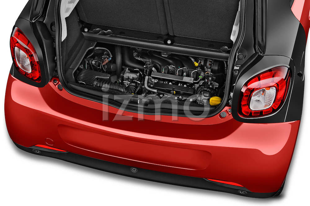 Car Stock 2015 Smart FORFOUR Prime 5 Door Micro Car Engine high angle detail view